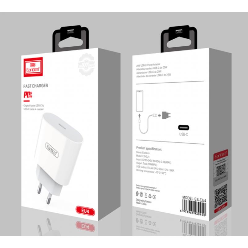 Блок питание USB Type C (сеть) Earldom ES-EU4 , белый