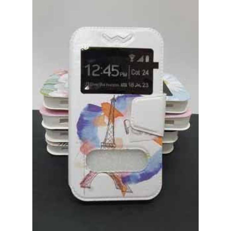 """Универсальный чехол-подставка слайдер с магнитной застежкой 3.8-4.3 дюймов """"Эйфелева башня"""", цветной"""