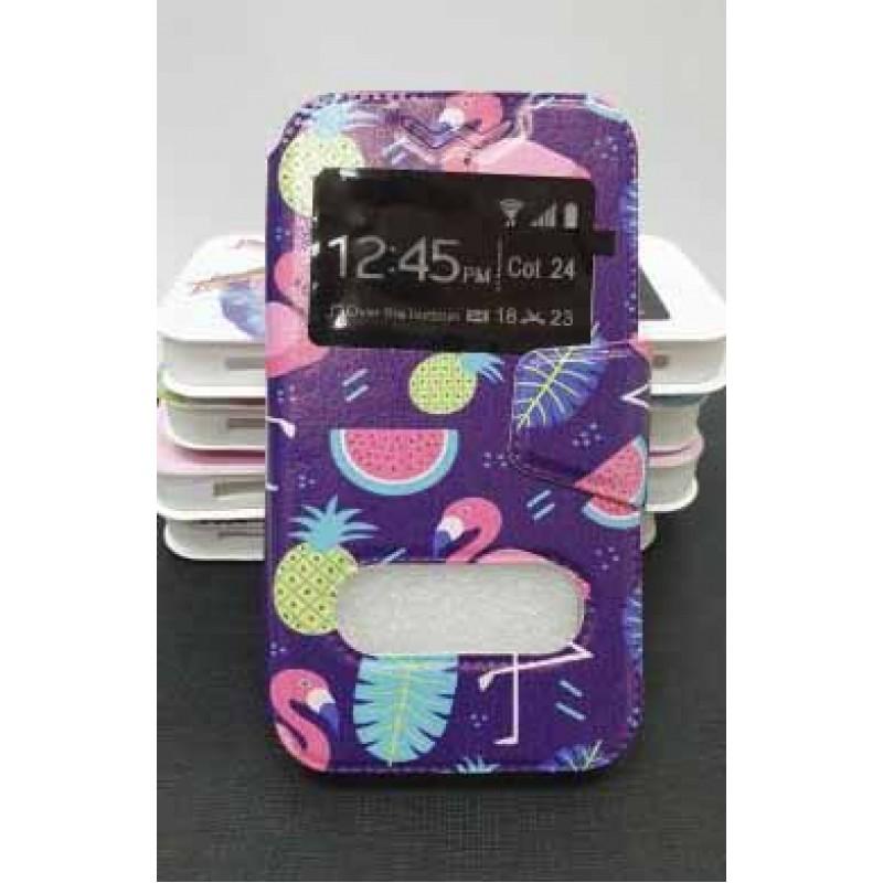 """Универсальный чехол-подставка слайдер с магнитной застежкой 3.8-4.3 дюймов """"Фламинго"""", синий"""