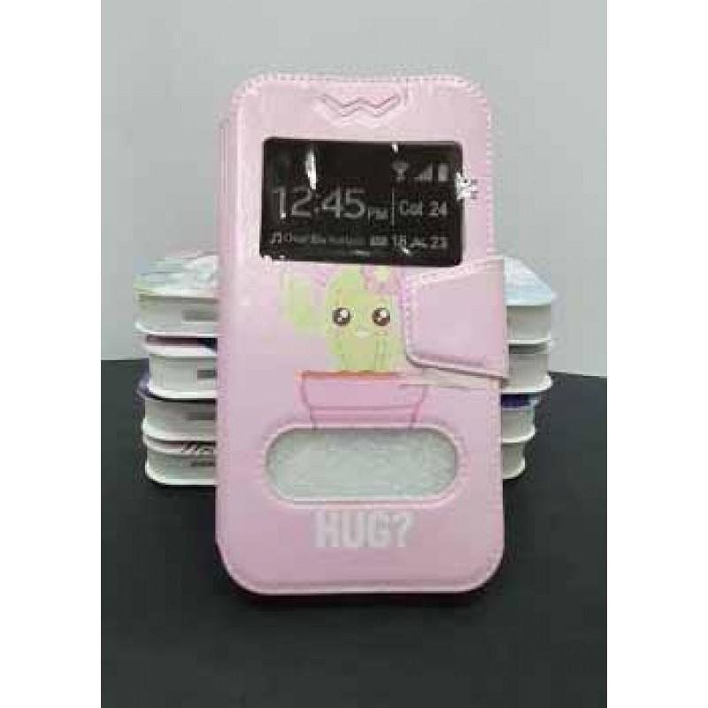 """Универсальный чехол-подставка слайдер с магнитной застежкой 4.3-4.8 дюймов """"Кактус"""", розовый"""