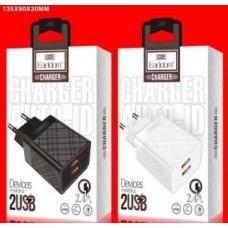 Блок питание USB (сеть) Earldom ES-148M 2400mAh для micro, 2USB выхода, белый