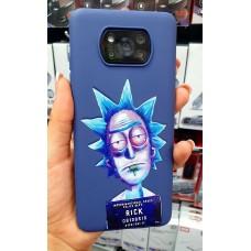 """Накладка силиконовая матовая с рисунком для iPhone 7/8 """"Безумный Рик"""", синий"""
