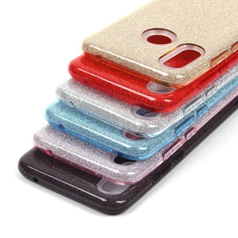 Накладка силиконовая блестящая для Samsung Galaxy A10, серебряный