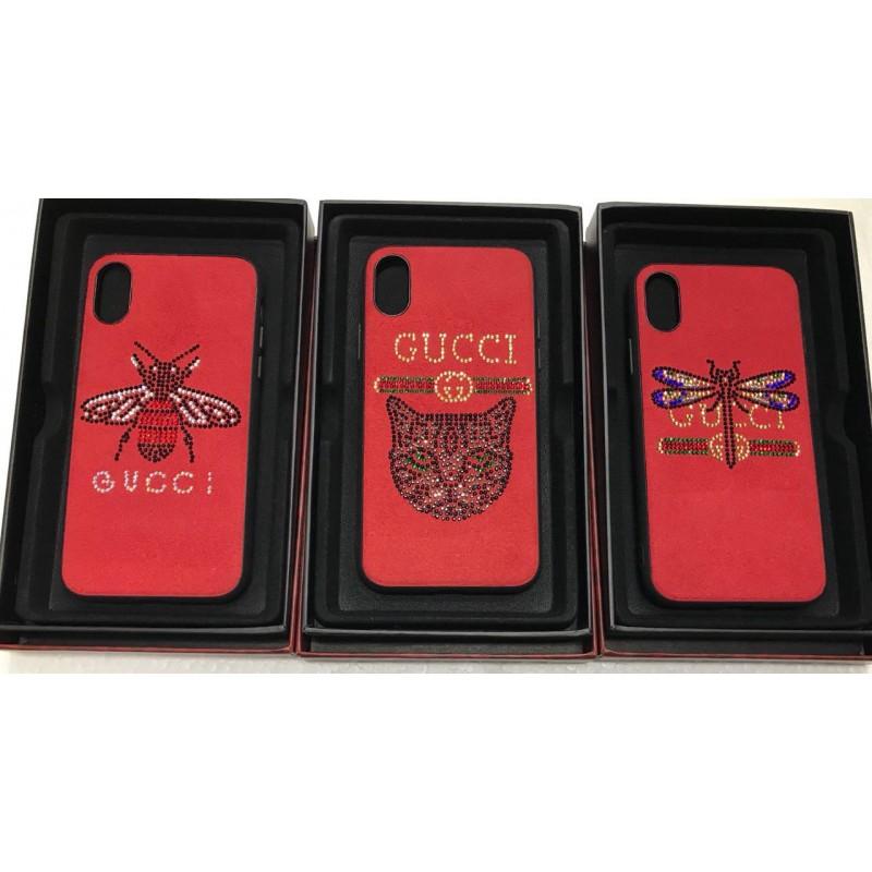 Накладка замшевая Gucci с силиконовыми краями для iPhone 6/6S Кот из страз, черный