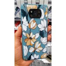 """Накладка силиконовая матовая с рисунком для Samsung Galaxy A02 """"Цветы акварель"""", оливковый"""
