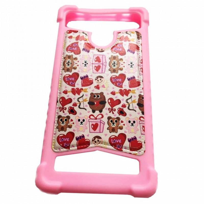 """Накладка силиконовая универсальная 4.0-4.5 дюймов (с отверствием для камеры) """"Love you"""", розовый"""