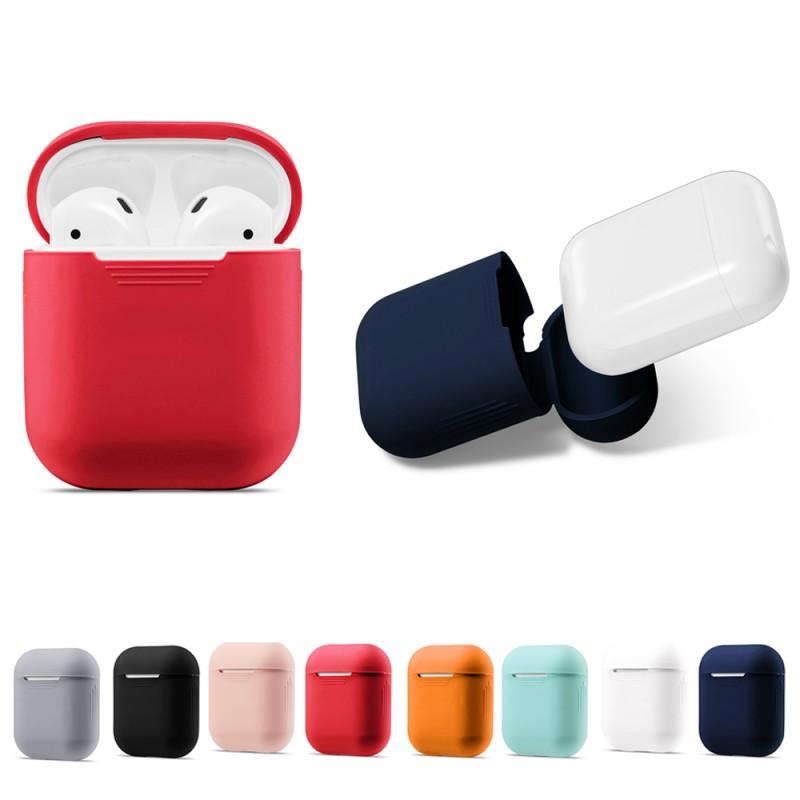 Чехол силиконовый для наушников Apple под оригинал без логотипа, оранжевый