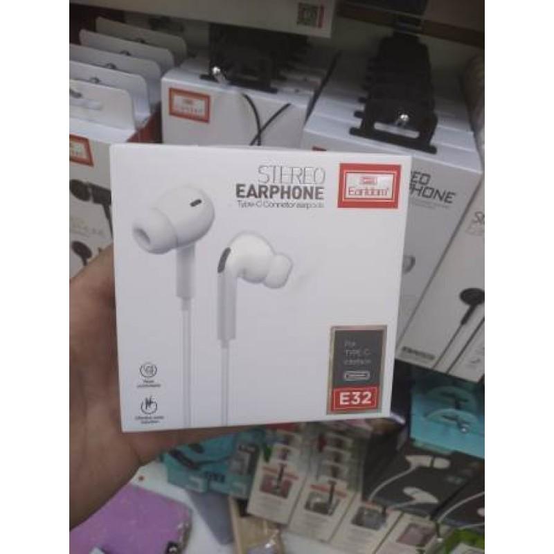 Наушники Earldom ET-E32 внутриканальные с микрофоном, разьем Type C, белый