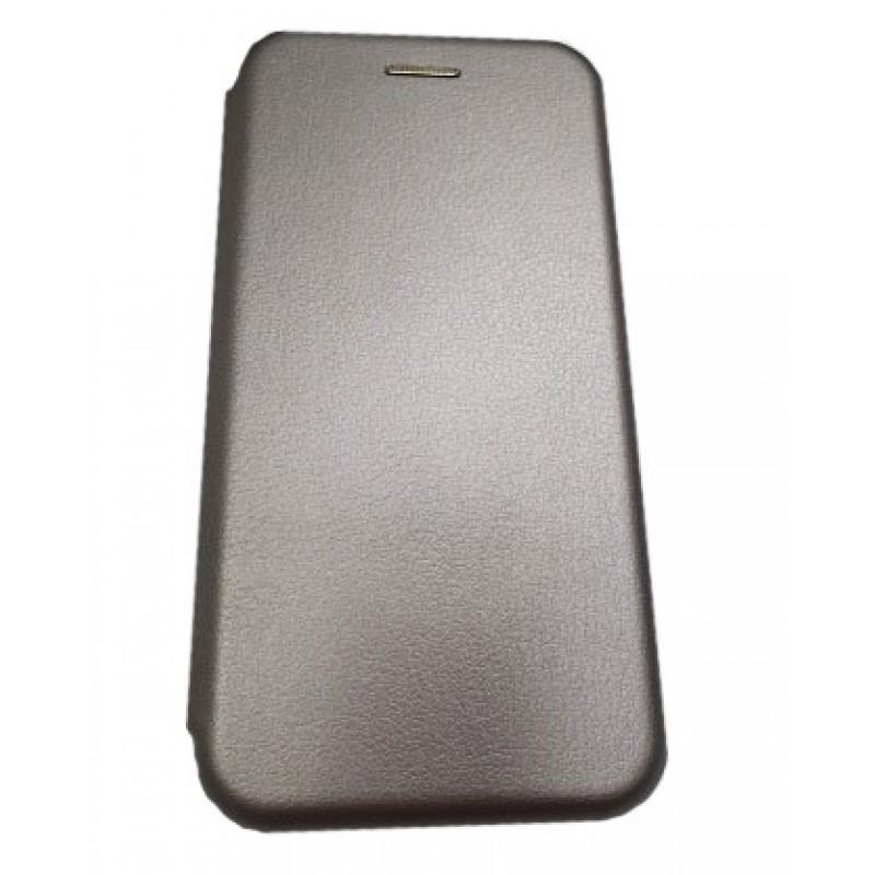 Чехол книга на силиконовой основе и магните для Xiaomi POCO F3 Book, с округленными краями, серебряный