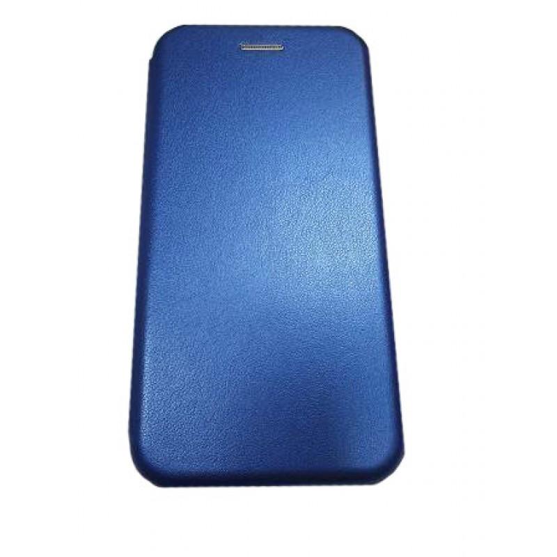 Чехол книга на силиконовой основе и магните для Xiaomi POCO F3 Book, с округленными краями, синий