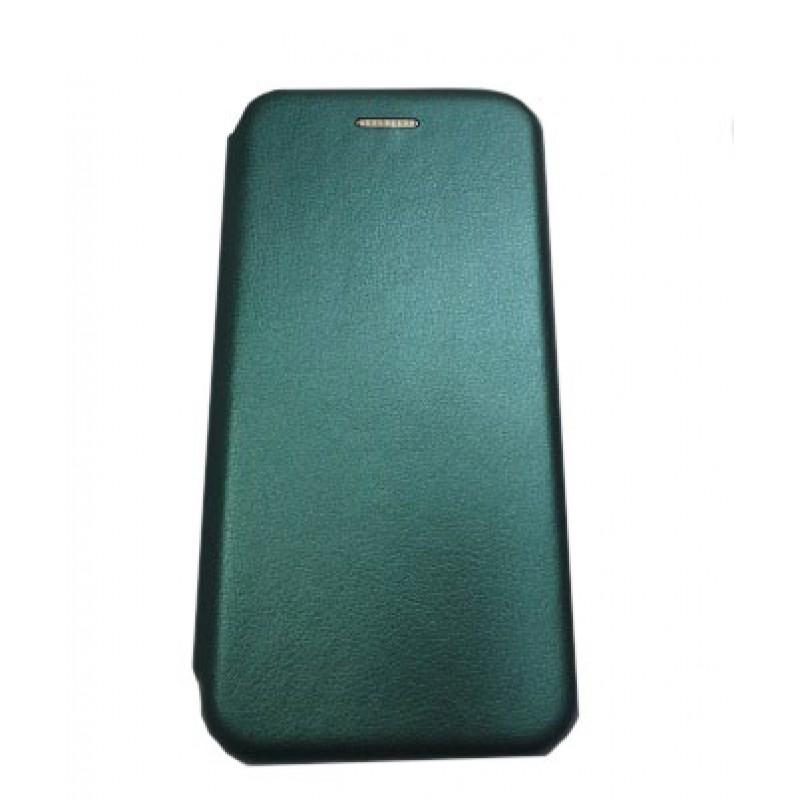 Чехол книга на силиконовой основе и магните для Xiaomi POCO F3 Book, с округленными краями, темно-зеленый