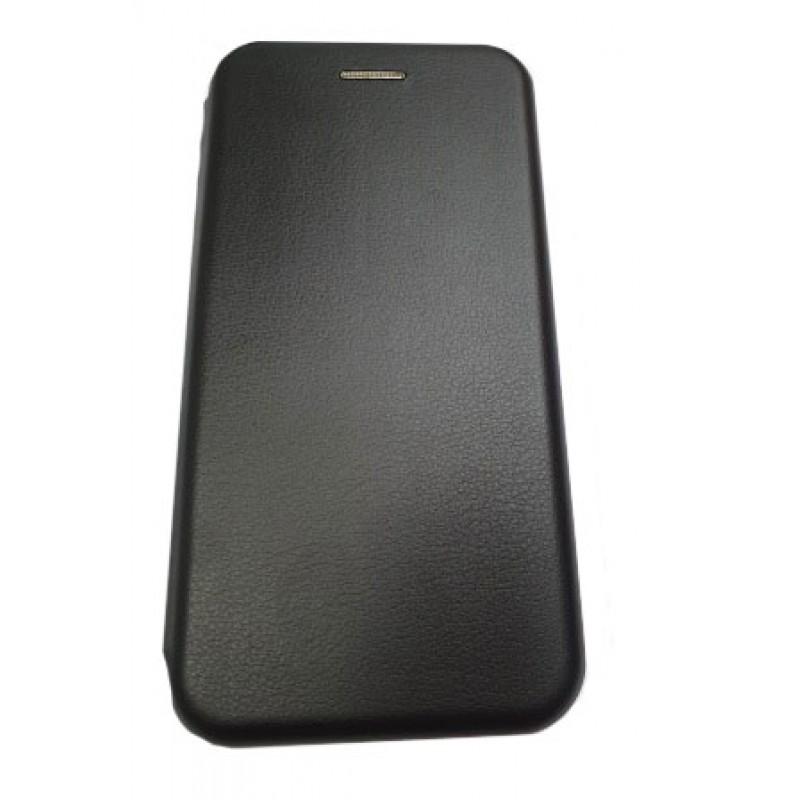 Чехол книга на силиконовой основе и магните для Xiaomi POCO F3 Book, с округленными краями, черный