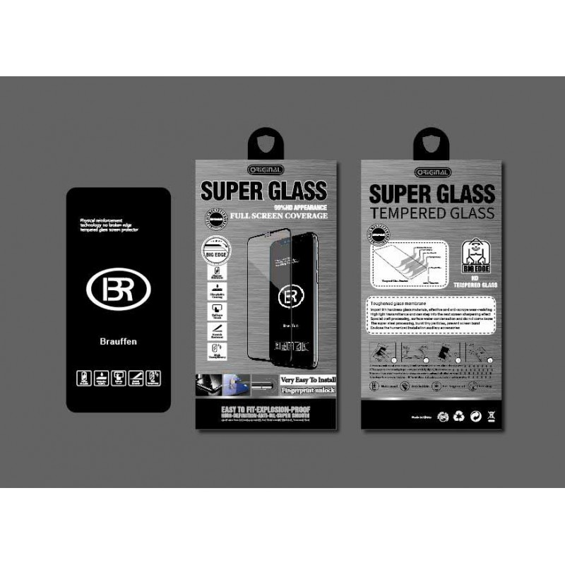 Стекло защитное Brauffen 5D AAA качество (полностью на клею) в коробке для iPhone X/XS, черный