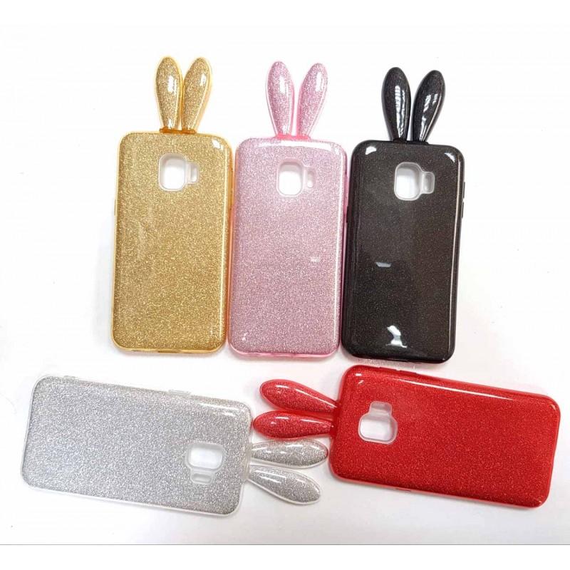 Накладка силиконовая блестящая с ушками для Samsung Galaxy A30 (2019), красный