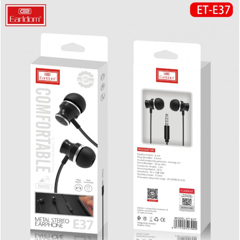 Наушники Earldom ET-E37 внутриканальные с микрофоном, белый