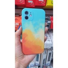 Накладка силиконовая soft touch с акварельным рисунком для iPhone XR, оранжево-голубой