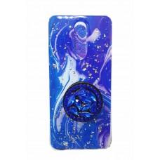 """Накладка имитация стекла с поп сокетом """"Мрамор"""" для iPhone 11 Pro Max, синий"""