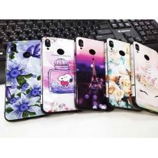 """Накладка имитация стекла с цветными краями для Xiaomi Redmi GO  """"Синие цветы и бабочка"""", белый"""