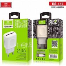 Блок питание USB (сеть) Earldom ES-147I 2100mAh для iPhone, 2USB выхода, белый