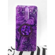 """Накладка имитация стекла с поп сокетом """"Мрамор"""" для Xiaomi Redmi 8, фиолетовый"""