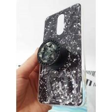 """Накладка имитация стекла с поп сокетом """"Мрамор"""" для Xiaomi Redmi 8, черный"""
