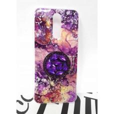 """Накладка имитация стекла с поп сокетом """"Мрамор"""" для Xiaomi Redmi 8, бежево-фиолетовый"""
