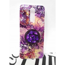 "Накладка имитация стекла с поп сокетом ""Мрамор"" для iPhone 11 Pro Max, бежево-фиолетовый"