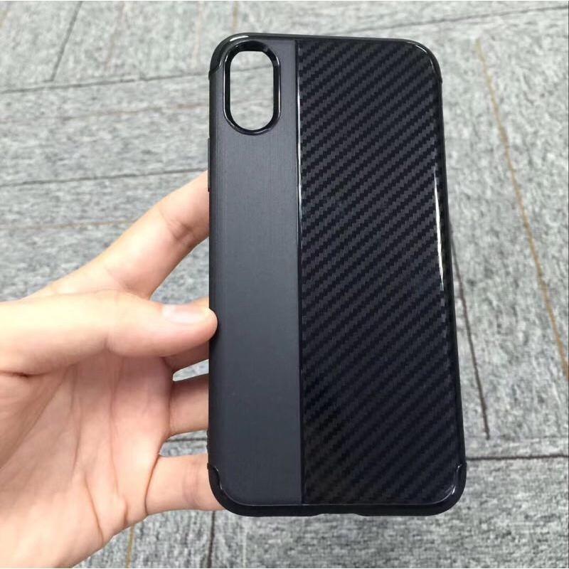 Накладка силиконовая Brauffen карбон комбинированный для iPhone 7/8, черный