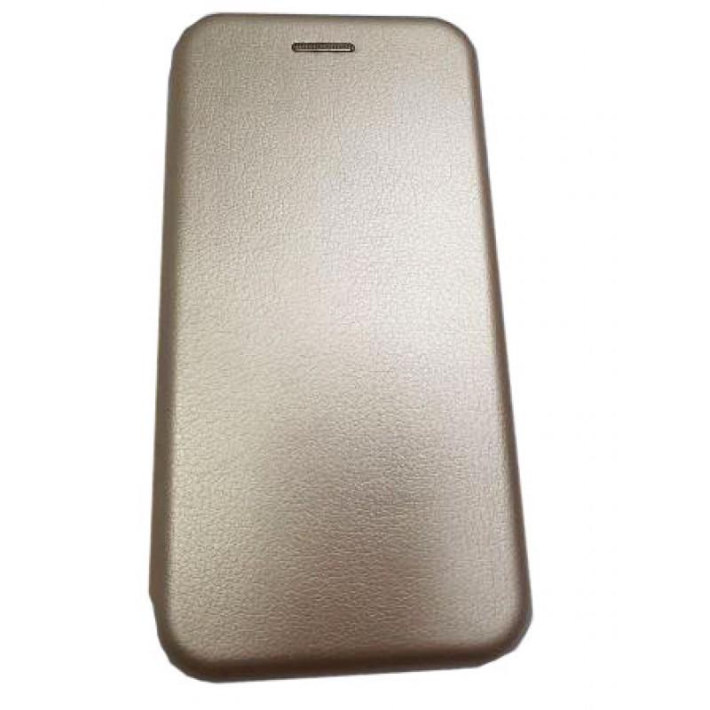 Чехол книга на силиконовой основе и магните для Xiaomi POCO F3 Book, с округленными краями, золотой